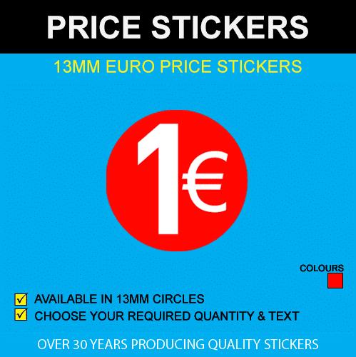 13mm Euro Price Sticker