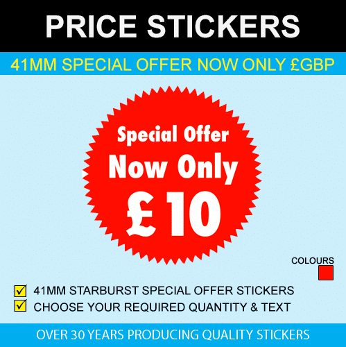 41mm Starburst Special Offer Now Only GBP Price Stickers
