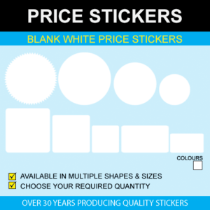 Blank White Price Stickers