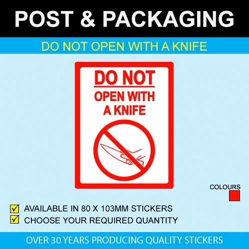 Do Not Open With A Knife Postal Stickers