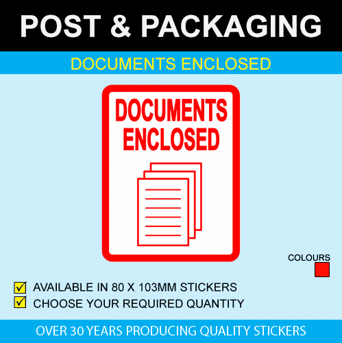 Documents Enclosed - Postal Stickers