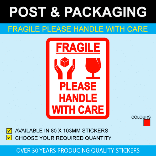 Fragile - Please Handle With Care Postage Stickers