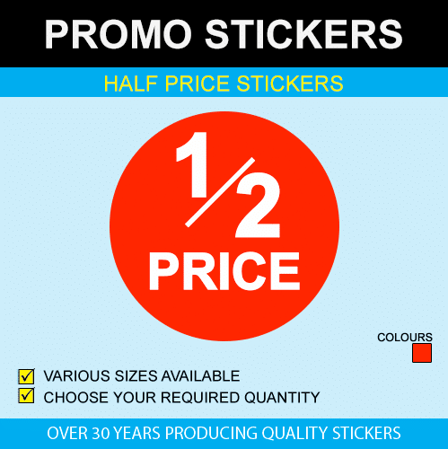 Half price stickers available in 6 sizes