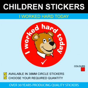 I worked hard today children's stickers