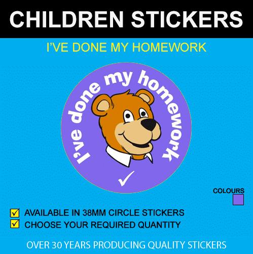 I've Done My Homework - Children's Price Stickers