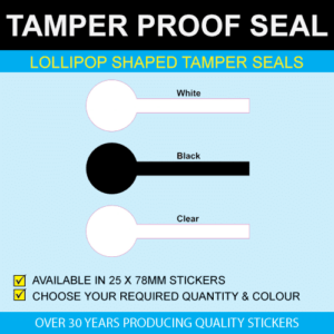 Lollipop Shaped Tamper Proof Seal Stickers