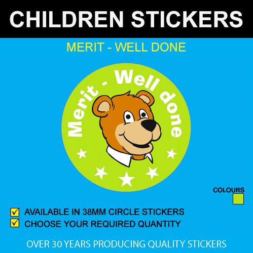 Merit - Well Done Children's Stickers