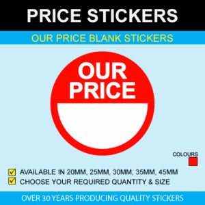 Our Price Blank Price Stickers