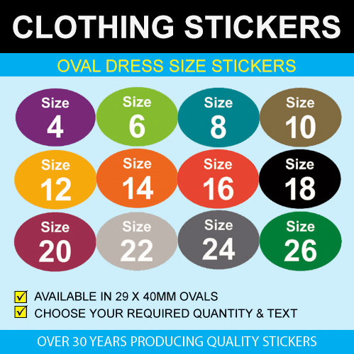 Oval Dress Size Stickers