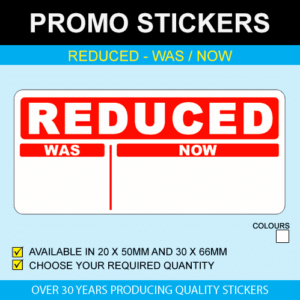 Reduced Was Now Stickers