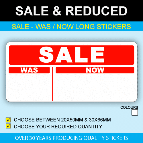 Sale Was Now Long Sale Stickers