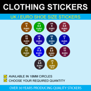 UK / Euro Shoe Size Stickers
