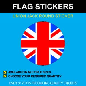 Union Jack Round Flag Stickers