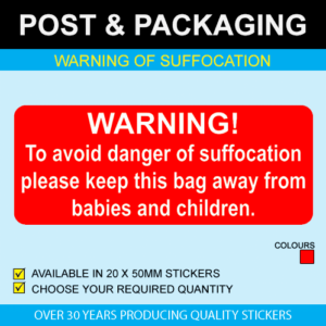 Warning of Suffocation Postal Stickers