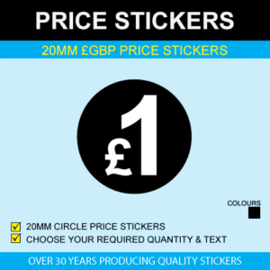 20mm Black GBP Price Stickers