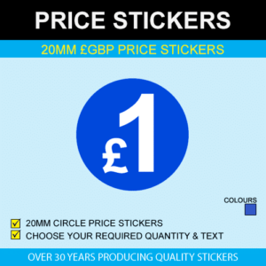 20mm Blue GBP Price Stickers