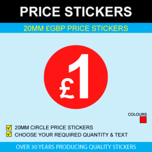 20mm Red GBP Price Stickers
