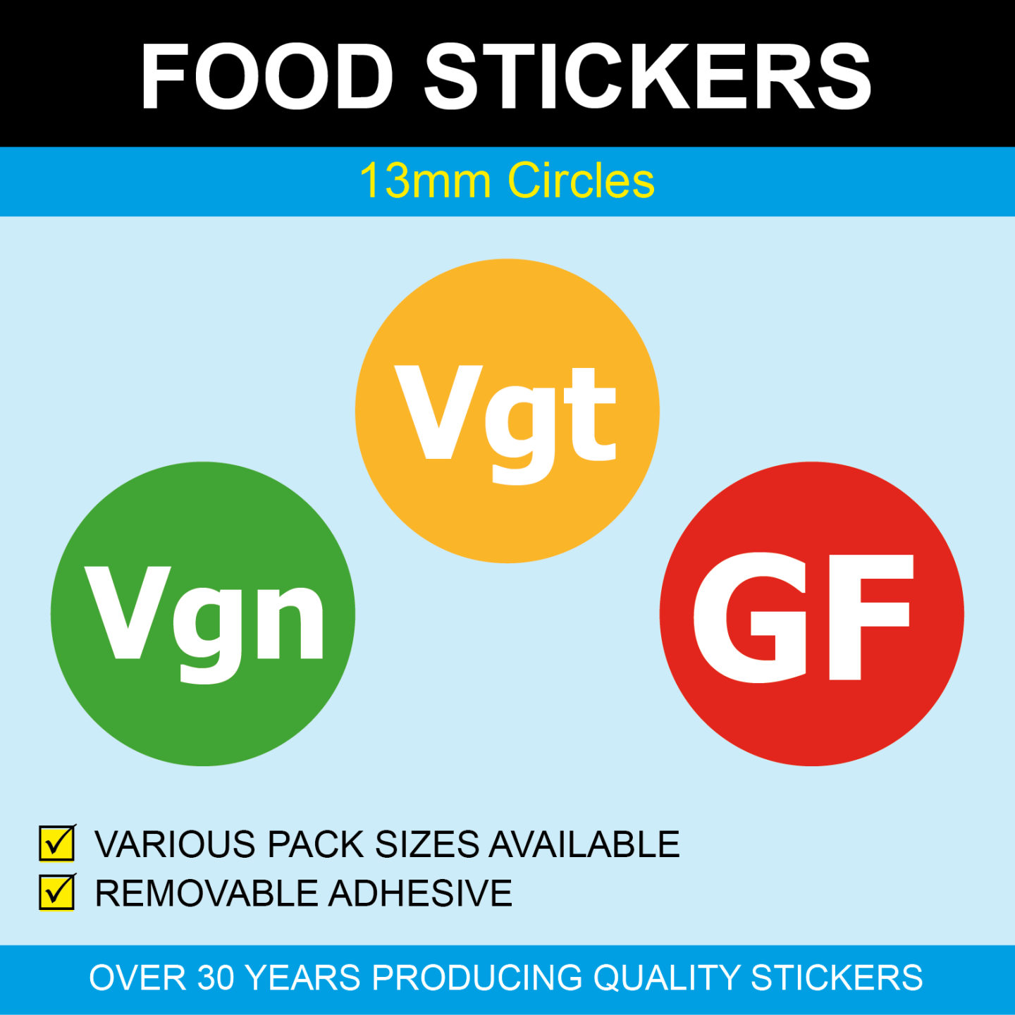 Details about 13mm - Food Stickers / Labels - Vgt Vegetarian / Vgn Vegan /  GF Gluten Free